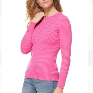 Sweaters - Scoop Ribbed Crewneck Sweater with Button Sleeves